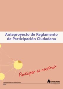 Portada del Proyecto de Reglamento de Participación 2018