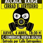 Cartel amarillo Alcalá exige el cierre del vertedero