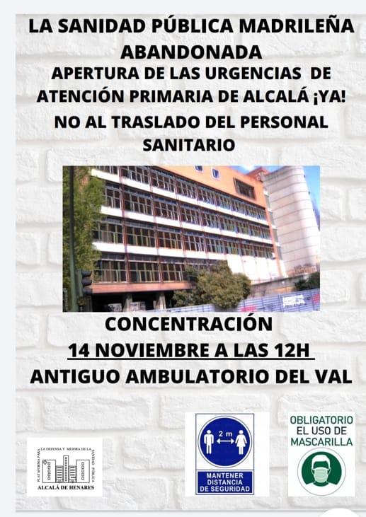 Cartel de concentración el 14 de noviembre a las 12h
